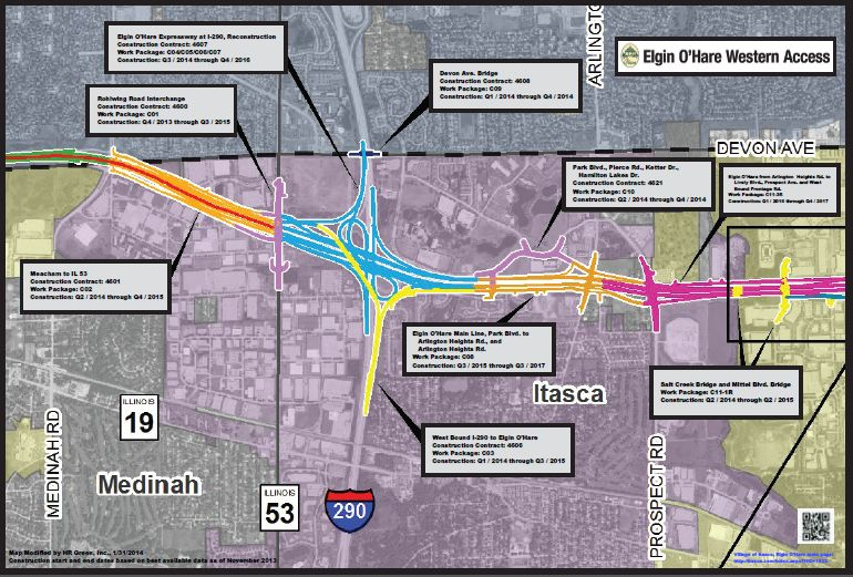 A map and timeline of the Eglin-O&#39 Hare Western access project